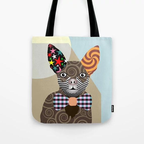 Chihuahua Tote, Chi Chi Dog Bag Pet Portrait Gift
