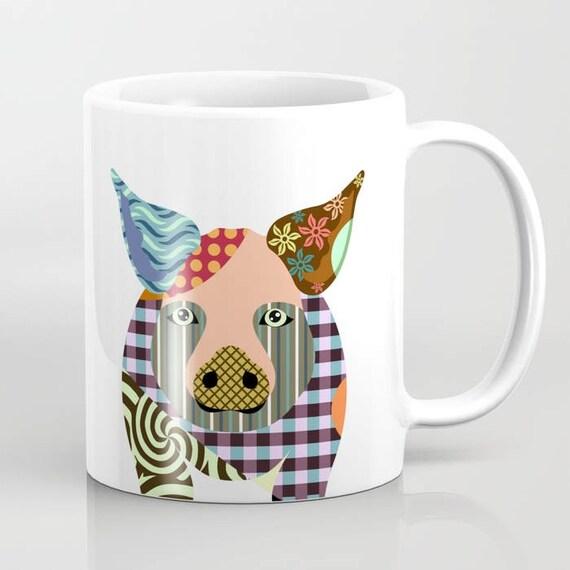 Pig Mug, Pig Gifts, Animal Mug, Pig Lover Gift, Pig Print, Piggy Prints, Animal Print, Cool Coffee Mugs