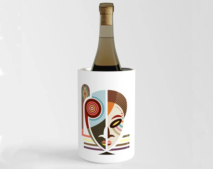 African Mask Wine Chiller, Afrocentric Gift Champagne Bottle Holder Kwanzaa Gift