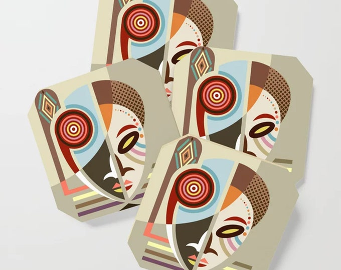 African Coasters Set, Afrocentric Mask Drink And Barware Kwanzaa Gift