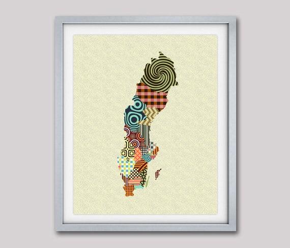 Sweden Map, Sweden Poster, Swedish Decor, Swedish Art, Swedish Print, Swedish Gift, Geometric Map Art Print, Travel Art