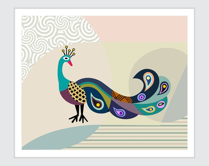 Peacock Art Work Wall Decor, Bird Painting
