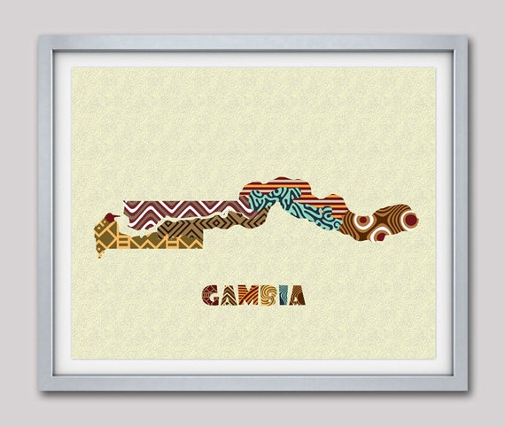 Gambia Map Art Print Wall Decor, Gambia Poster, Banjul Gambia West Africa, African Art Print, African Map Poster