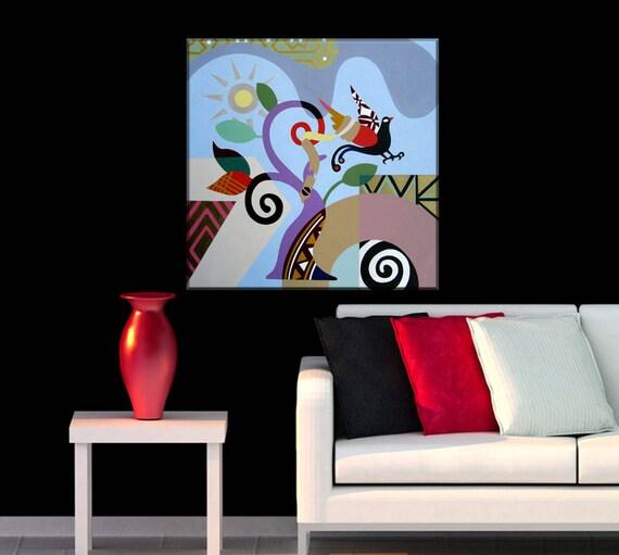 Abstract Landscape Art, Philosophical Art, Freedom Art, Happy Art, Abstract Bird Art, Abstract Nature Art, Geometric Wall Art, Cubist Art