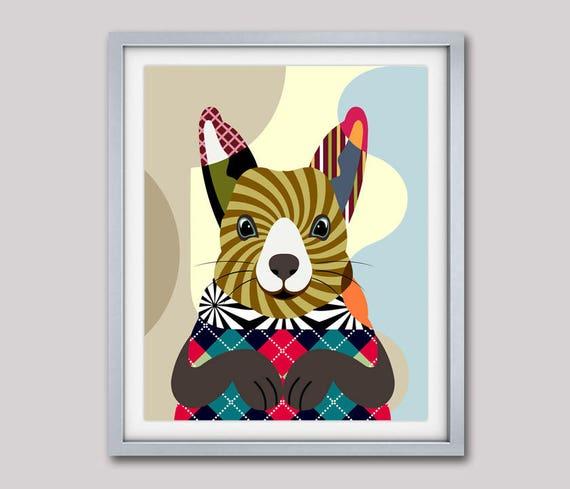 Squirrel Art Print, Squirrel Painting, Squirrel Poster, Squirrel Decor, Squirrel Gift, Squirrel Drawing, Rodent, Animal Print, Animal Decor