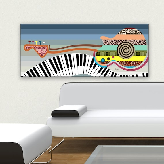 Large Music Wall Decor, Guitar Piano Canvas Art