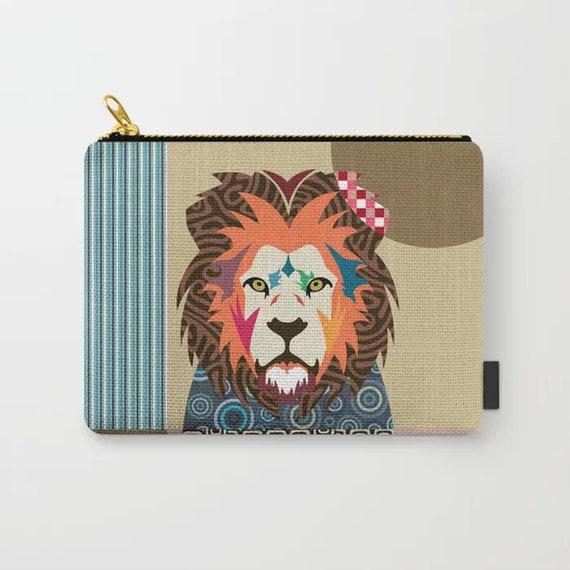 Lion Coin Purse, Wild Animal Zipper Pouch