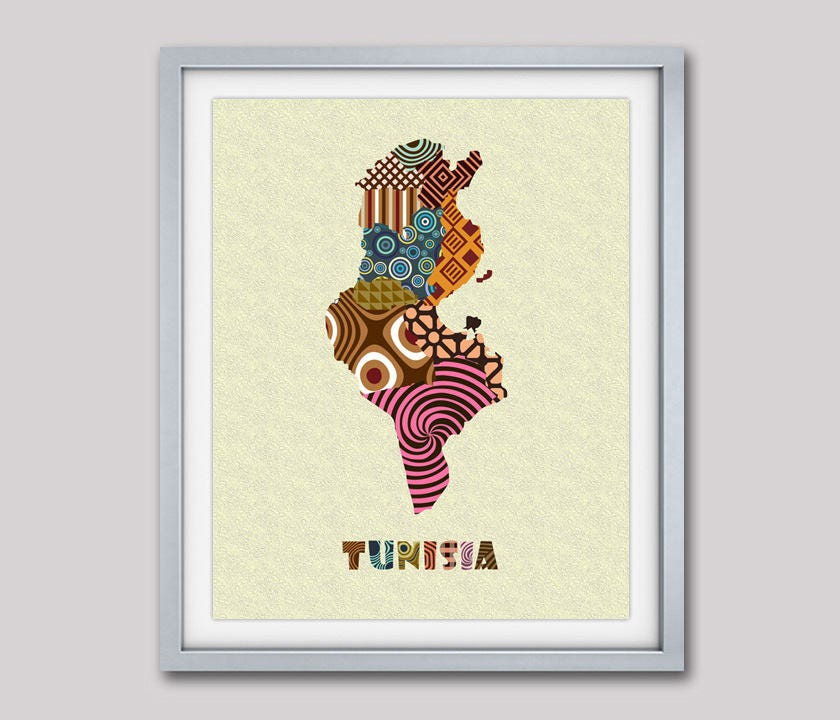 Tunisia Map Art Print Wall Decor, Tunisia Poster African Art Print ...