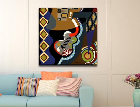 Original Acrylic Abstract Guitar Painting, Guitar Art, Music Painting, Colourful Guitar Pop Art Canvas, Guitar Art Work, Abstract Music Art