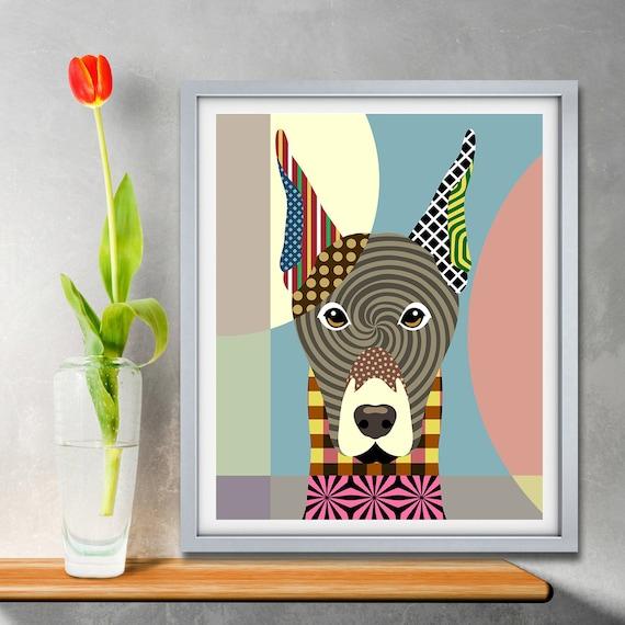 Doberman Art Pinscher Dobbie Dog Pet Portrait Painting