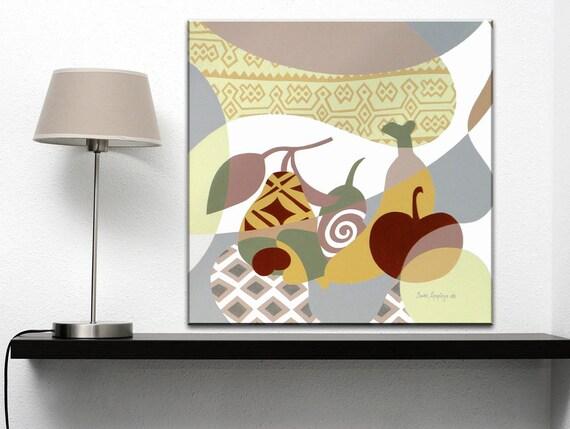 Original Painting, Abstract Fruit Art, Fruit Painting Canvas Acrylic, Fruit Decor, Original Kitchen Painting, Pop Art Canvas, Fruit Drawing