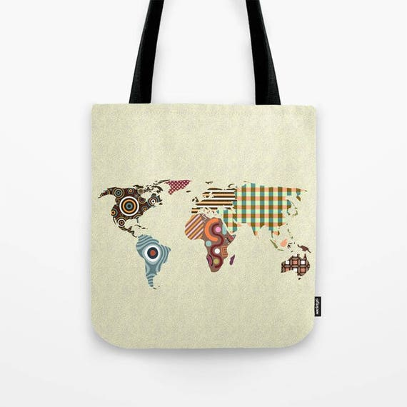 World Map Tote Bag, World Map Gift, World Map Print Bag, World Map Accessories, World Map Gifts, World Map Design, Map Bag