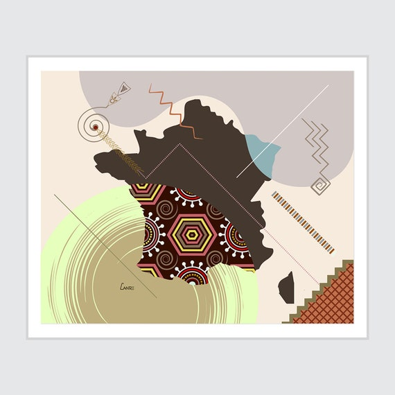 France Map Art, Country Poster Abstract Print