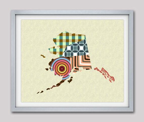 Alaska Art, Alaska Map, Map of Alaska Gifts, State Map, State Art,  Alaska Poster, Alaska decor, State Gifts, USA, US Travel Map