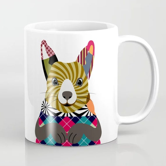 Squirrel Coffee Mug, Animal Ceramic Cup Rodent Art