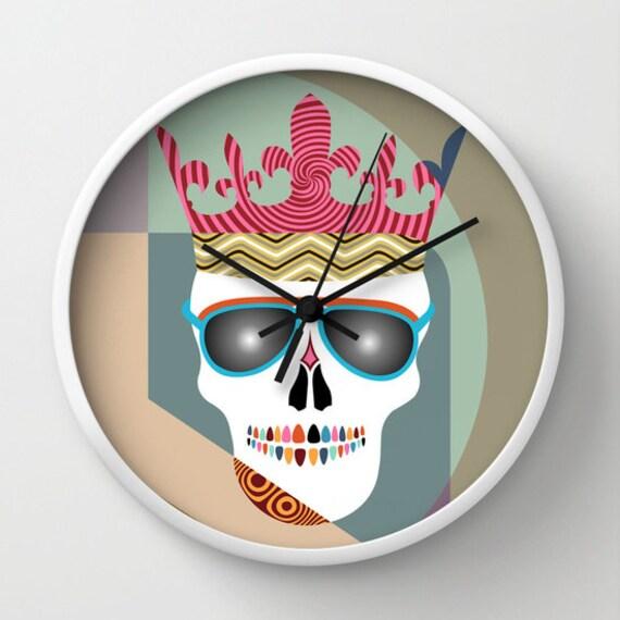 Skull Wall Clock, Unique Skull Wall Clock, Wall Clock Skull  Home Decor, Decorative Clock Skull, Skull Glasses, Skull Crown