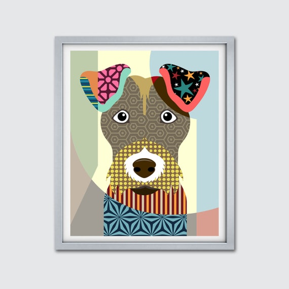 Wire Fox Terrier Print Poster, Dog Pop Art