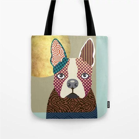 Boston Terrier Tote, Dog Weekend Bag Doggy Sack