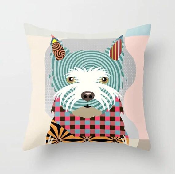 Westie Pillow Dog Print, West Highland Terrier Gift