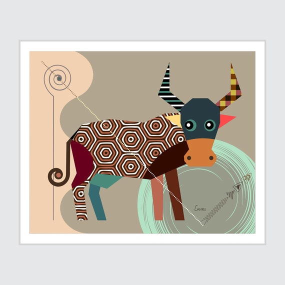 Taurus Zodiac Art,  Star Sign Poster, Horoscope Gift Bull Head