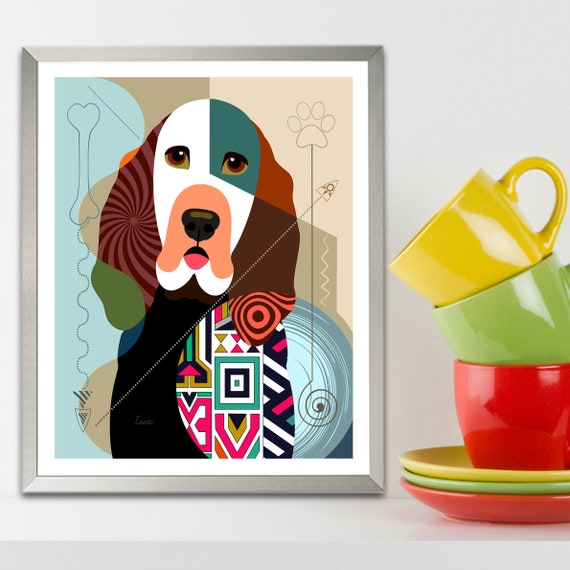 Bloodhound Dog Art Print, Puppy Portrait  Pet Lover Decor