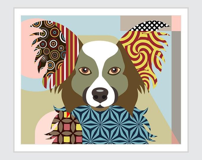 Papillon Dog Art Print Poster, Pet Portrait