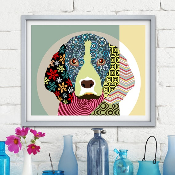 Beagle Art Dog Poster, Pet Portrait Animal Lover Gift