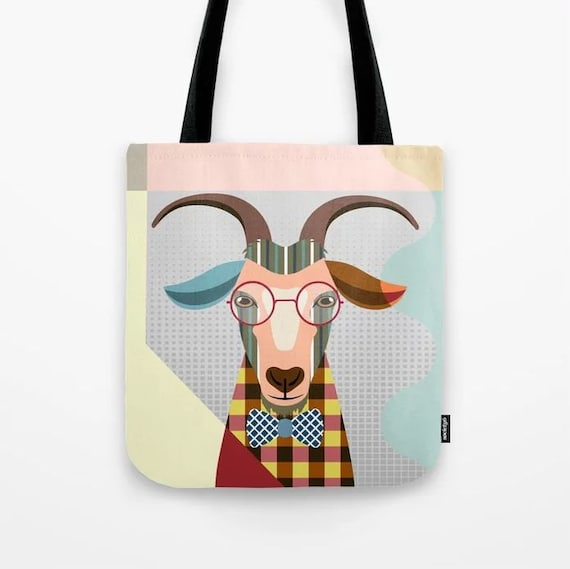 Goat Tote Bag, Goat Loves Gift, Goat Print, Goat Art, Farm Animal Gift, Goat Bag