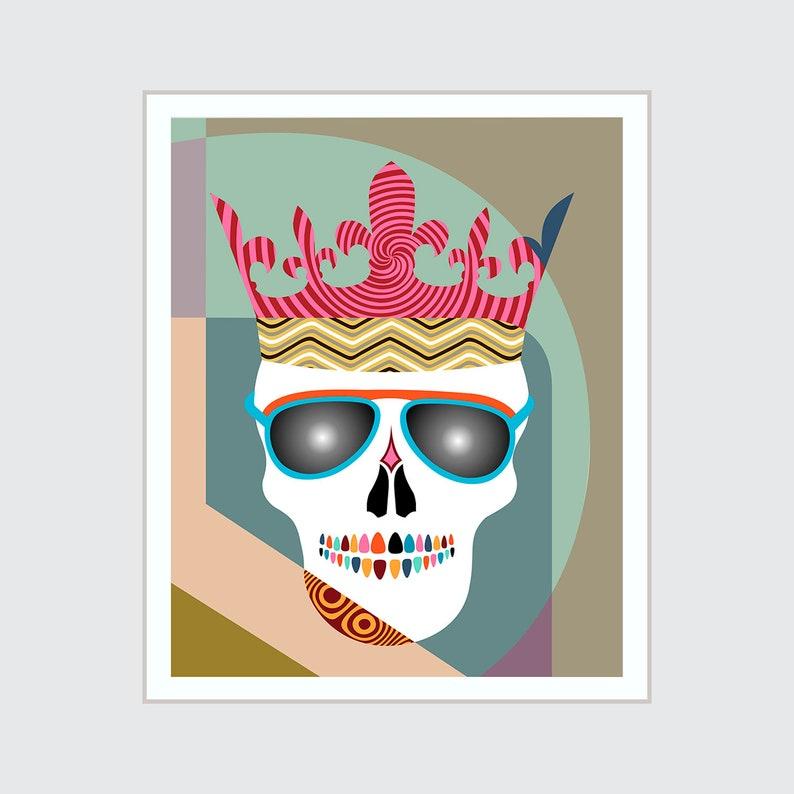 Skull Crown Wall Art Print Painting Halloween Skeleton Decor image 0