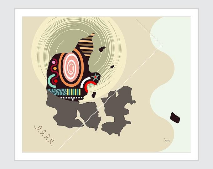Denmark Map Art, Copenhagen Print Scandinavian Country Abstract Cubist Design
