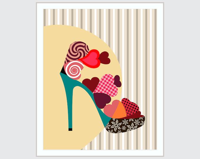 Shoe Artwork Girls Room Decor, High Heels Womens Gift For Her
