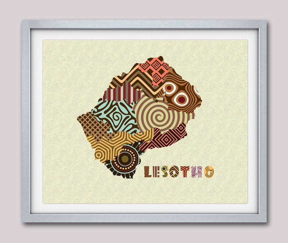 Lesotho Map Art Print Wall Decor Lesotho Poster African Art Print