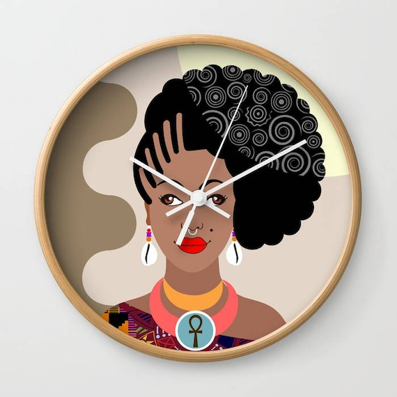 African Wall Decor, African Wall Hanging, Afrocentric Wall Clock, African Woman Wall Clock, Afrocentric Decor, African Inspired Art