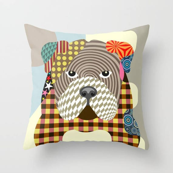English Bulldog Pillow, English Bulldog Gift, English Bulldog Art Print, English Bulldog Accessories, Dog Lover Pillow