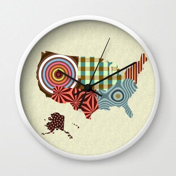 USA Travel Map Clock, Map Of USA Clock, State Art, State Gifts, USA Map Wall Art Clock, Cute Clock, Clock Art