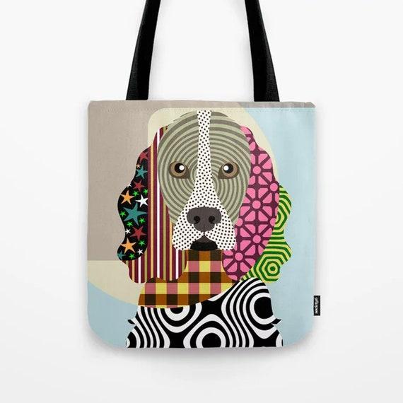 Cocker Spaniel Gift Bag, Dog Printed Canvas Tote