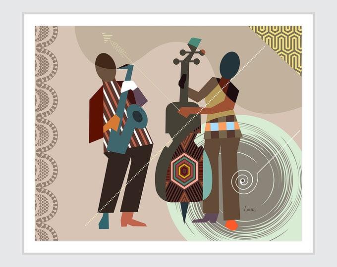 Jazz Musician Art, Saxophone Poster Violin Painting