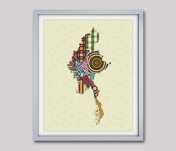 Myanmar Map Print Poster,  Burma Painting Poster, Myanmar Gifts, Myanmar Decor, Naypyidaw Southeast Asian Art Print