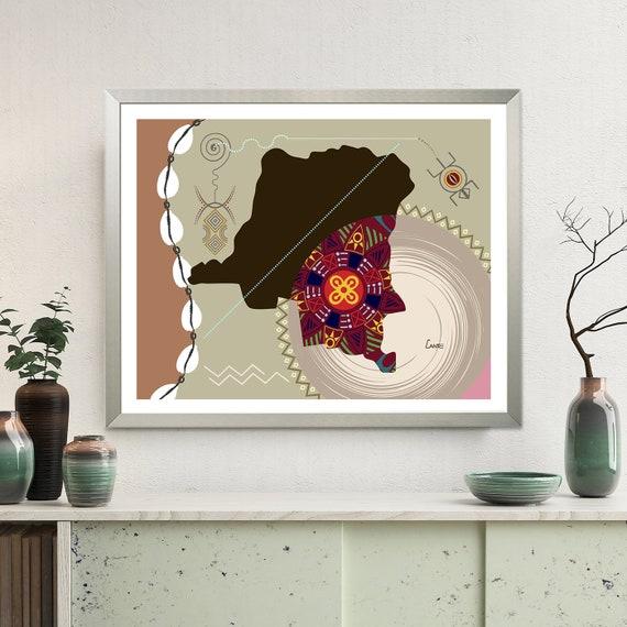Congo Map DRC, Democratic Republic of Congo Art Kinshasa Central Africa
