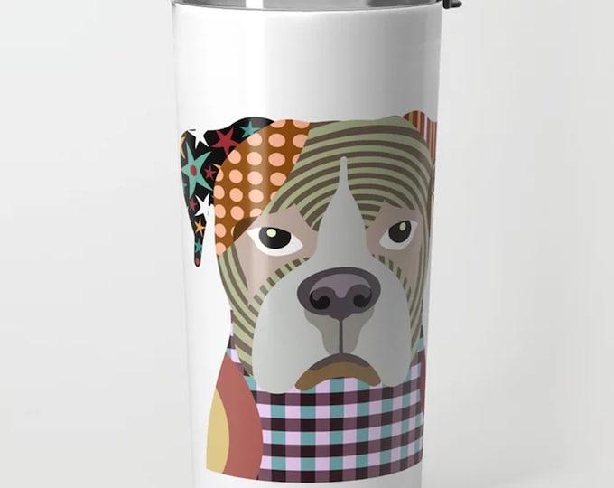 Boxer Tumbler, Dog Travel Mug  Puppy Print