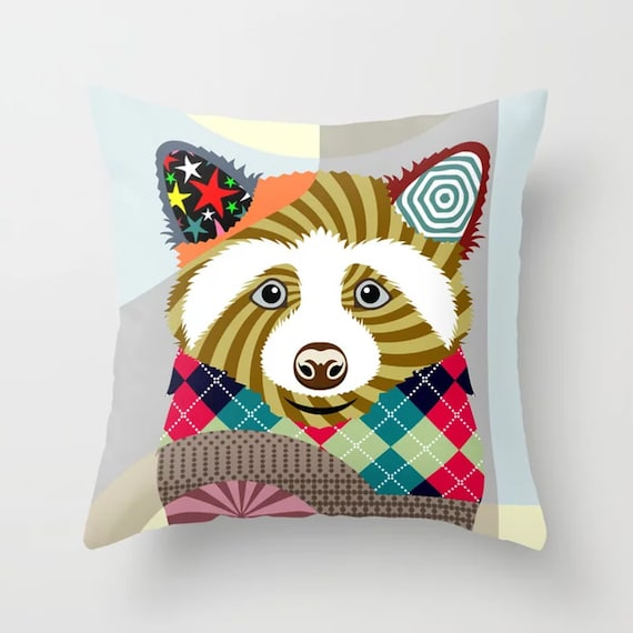 Raccoon Pillow, Forest Animal Cushion