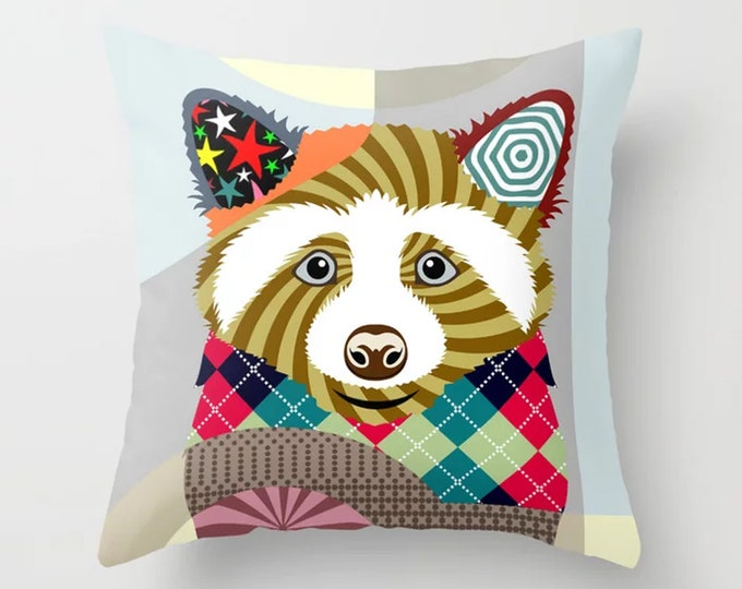 Raccoon Pillow, Forest Animal Cushion