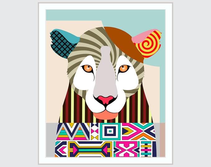Leopard Print Wall Decor, Wild Animal Portrait Pop Art