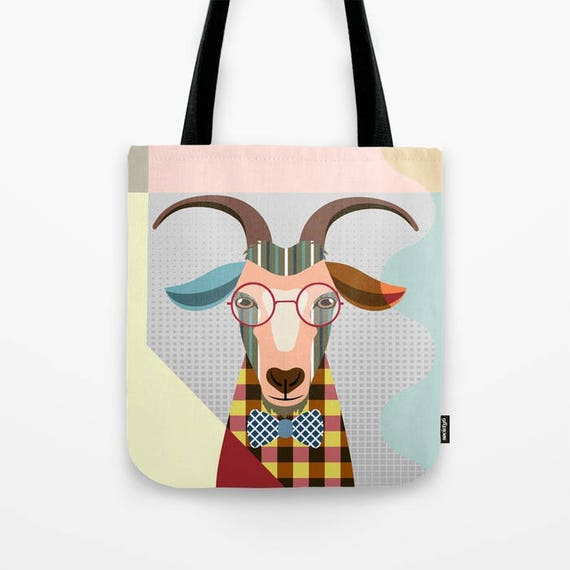 Goat Tote Bag, Goat Lovers Gift, Goat Print, Farm Animal Art, Animal Portrait, Farm Animal Gift, Farm Animal Gift Bag