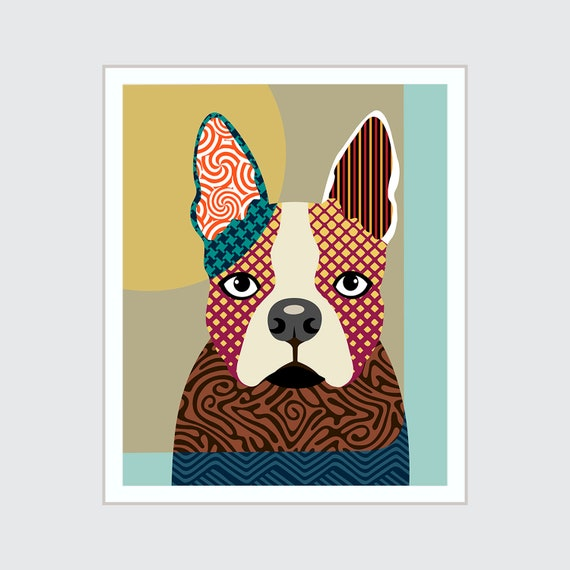 Boston Terrier Art, Pet Portrait Colorful Animal Print
