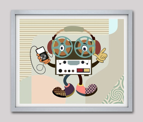 Reel to Reel Player Music Artprint, Retro Poster, Humorous Art, Vintage Poster,  Taupe, Brown, Yellow, Turquoise, Beige