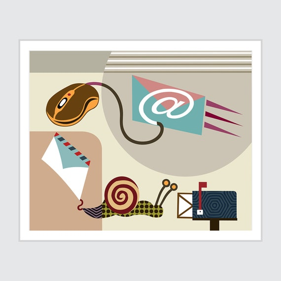 Mail Art Home Decor, Snail Painting Poster