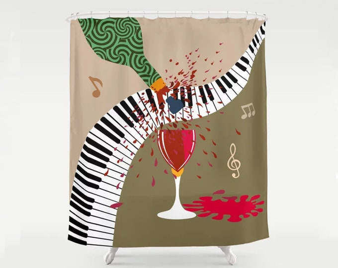 Wine Shower Curtain, Piano Music Lover Gift  Boho Bath Décor Jazz Décor