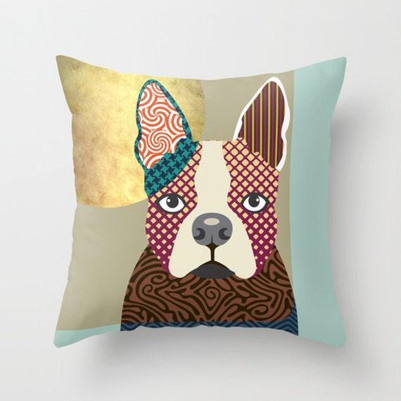 Boston Terrier Pillow, Dog Lover Gift, Animal  Cute Throw Pillow,  Boston Terrier Throw Pillow Cover,  Dog Throw Pillow