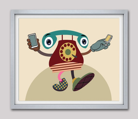 Classic Phone Art, Funny Artwork, Office Decor, Telephone Antique, Retro Artwork, Office Artwork